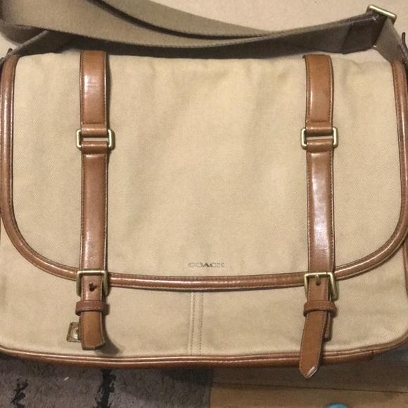 Authentic Coach Messenger canvas leather Bag